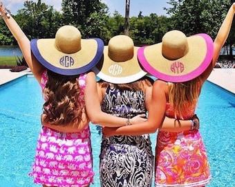 Custom Monogram Floppy Hat Personalized Sun Hat Women's Beach Hat Monogrammed Kentucky Derby Hat, Bachelorette Party Hats