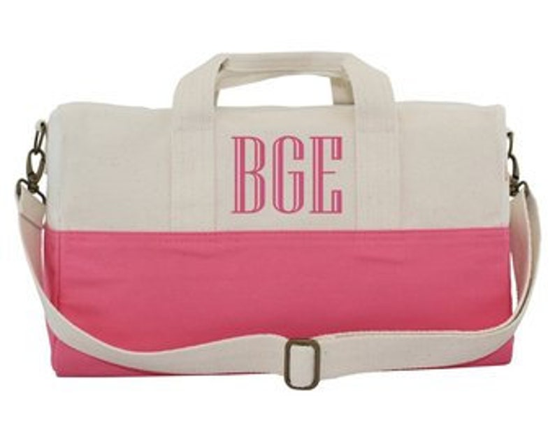 0117a31339 Monogram Duffle Bag Canvas Travel Tote Coral Carry On Bag