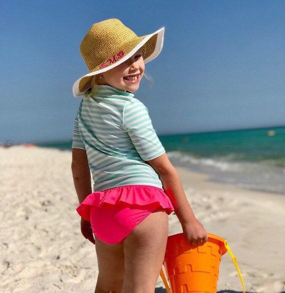 Toddler Summer Straw Hat Girls Floppy Hat Monogram Sun Hat  36a96ffe98c