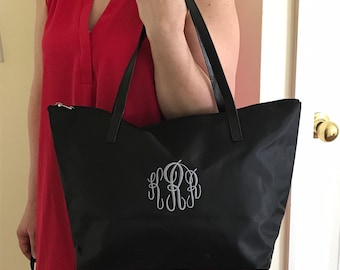 Monogram Tote Bag - Personalized - Nylon Tote Bag - Bridesamaids Gift - Travel Bag - COLORFUL Tote Bag - Embroidered Bag - Preppy Totes