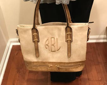 Classy Brown Leather Tote - Custom Leather - Monogram Leather Tote  -  Personalized Leather Shoulder Bag  - Double Zipper Tote