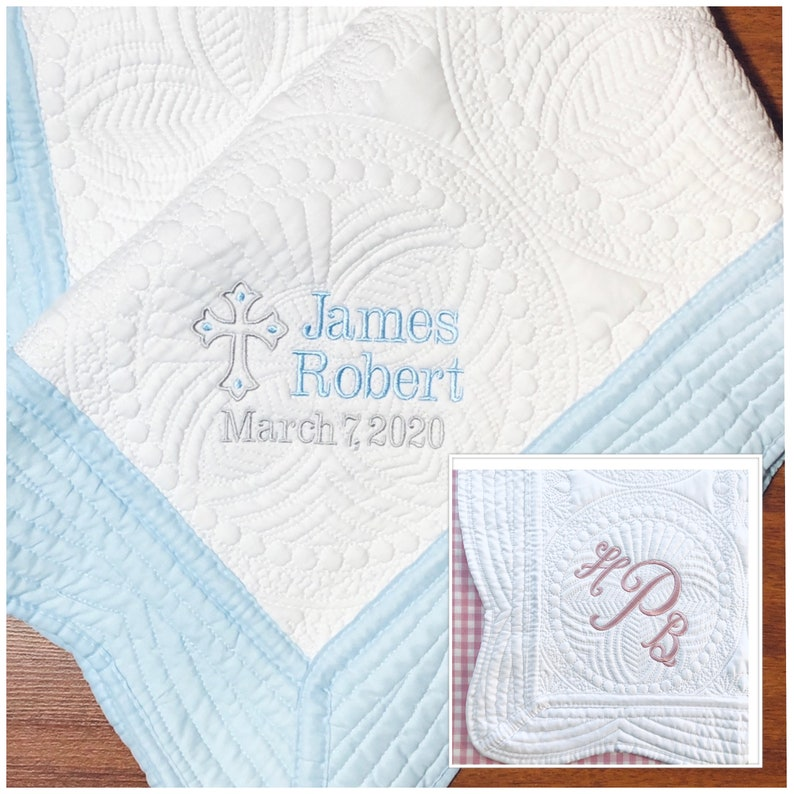 Monogrammed Boy or Girl Christening Blanket Gifts Personalized Baby Quilt Baptism Gift