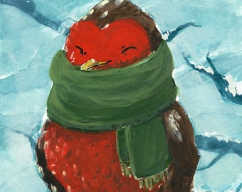 New Scarf - 5x7 Fine Art Print - Bird Wearing a Scarf in the Snow - Kassadoodle
