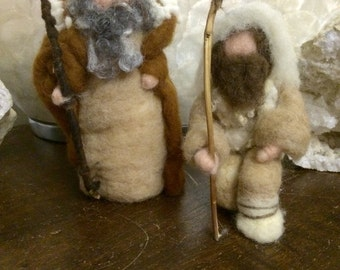 needle Felting,Shepherd in fairy, carded wool. Waldorf. For every Christmas