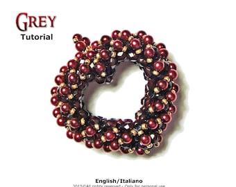 Tutorial Grey Pendant - beading pattern - 3D heart - double face