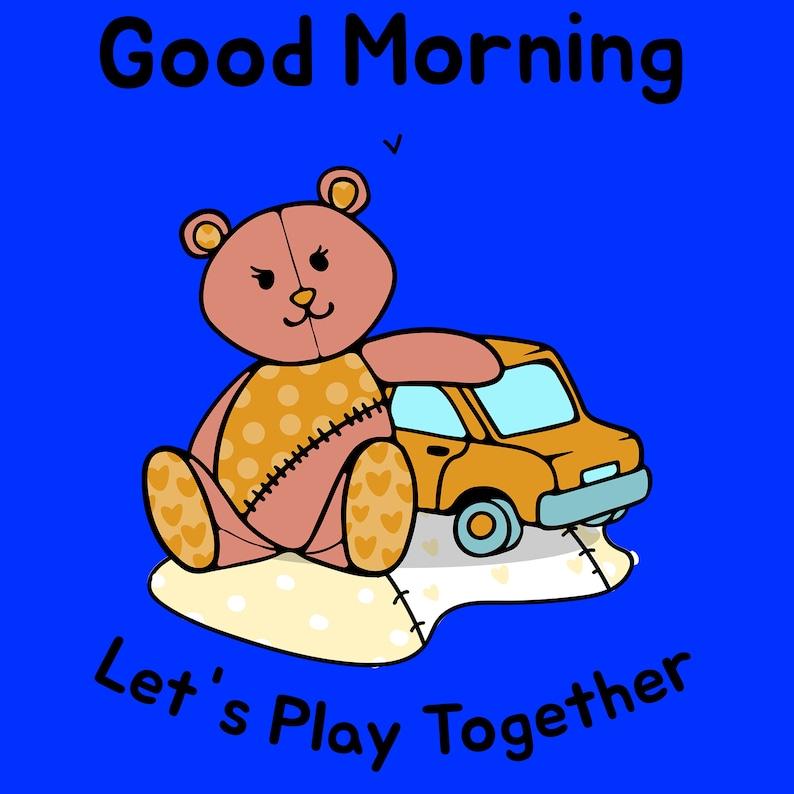 toddler t shirt Cute graphic tee shirt good morning bear print toddler tee shirt