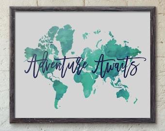 Adventure Awaits Art Print, Adventure Poster, World Map Art, Travel Quote, World Map Poster, Watercolor Map, Vintage Map, Wanderlust, Green