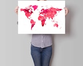 Items similar to map watercolor print world map art motivational map watercolor print world map art motivational wall world map poster pink map wanderlust inspirational quote watercolor art gumiabroncs Images