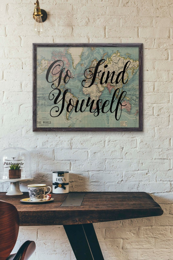 Go find yourself travel poster vintage world map art travel etsy image 0 gumiabroncs Gallery