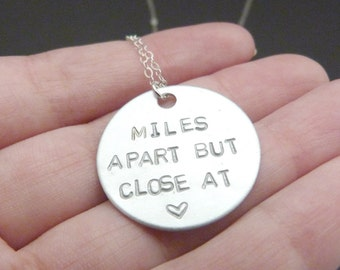 Long distance friendship necklace, miles apart but close at heart, relationship gift