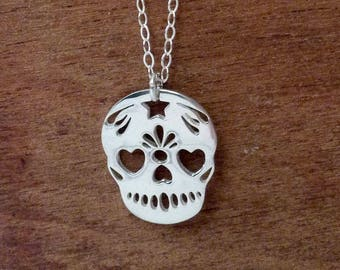 Sugar skull jewelry, skeleton necklace sterling silver, Mexican day of the dead, fantasy pendant, gift for women
