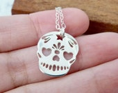 Sugar skull necklace for women - sterling silver skeleton jewelry - Mexican day of the dead - fantasy pendant gift