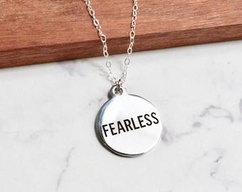 Be fearless jewelry, chronic illness, fibromyalgia, encouragement necklace, fitness motivation, workout inspiration, weight lifting