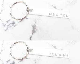 Matching couple keychains, you and me and the dogs, husband Christmas gift, me and you gift