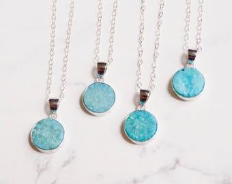 Aqua druzy necklace, raw crystal jewelry, by nkdna