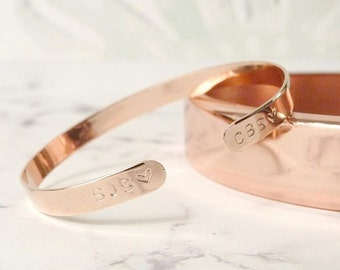 Rose gold bracelet personalized / gift for women / coordinates cuff for her by nkdna