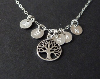 Family of 5 necklace, parents & kids initials, sterling silver jewelry by nkdna