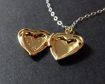 Gold heart locket necklace, personalized with initial inside, forget me not, sterling silver chain