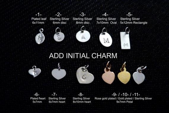 Ajouter un charme initial en argent sterling, tag, feuille, disque, ovale, rectangle, coeur ou pétale