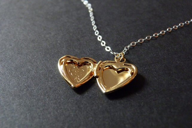 gold heart locket necklace personalized with initial inside etsy