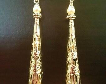 Silver filigree pearl earrings