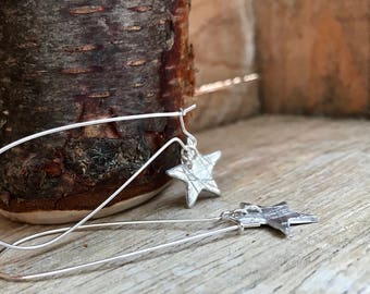 Fine Silver Earrings with Star Detail