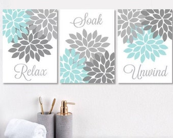 Aqua Bathroom Decor Etsy