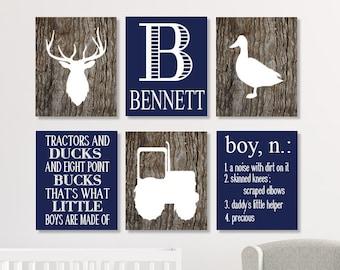 DEER Nursery Decor, Deer Nursery Wall Art, Deer Nursery Prints Or Canvas, Rustic Nursery Decor, Tractor Nursery, Many Sizes, Navy, Set of 6