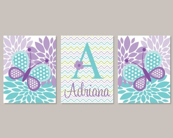 Butterfly Nursery Wall Art, Prints Or Canvas, Girl Nursery Decor, Lavender Nursery, Personalized Name, Floral Nursery, Set of 3