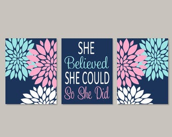 Teen Girl Room Decor, Floral Wall Decor, Pink Navy Wall Art, Prints Or Canvas, Girl Bedroom Art, College Dorm Decor, Inspirational Set of 3
