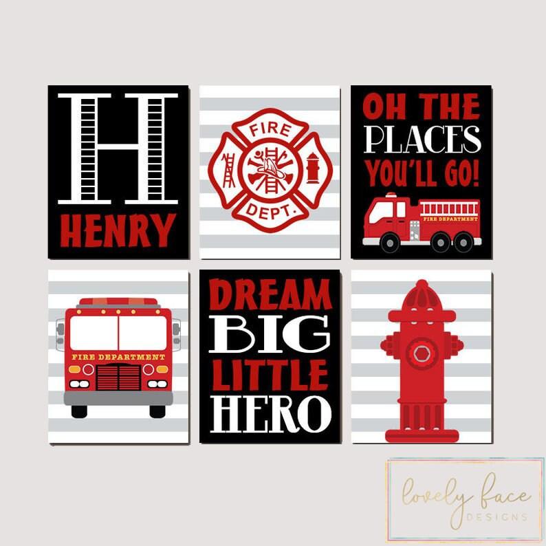 Fire Truck Nursery Set of 6 Pictures Big Boy Bedroom Fire Truck Decor Canvas or Prints Fireman Fire Truck Birthday Fire Truck Wall Art
