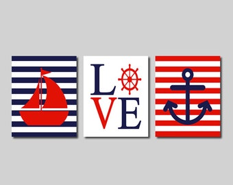 Nautical Wall Art Prints Or Canvas Nautical Nursery Decor Nautical Bathroom Sailboat Love Wheel Anchor Navy Red Kids Bathroom Decor Set of 3