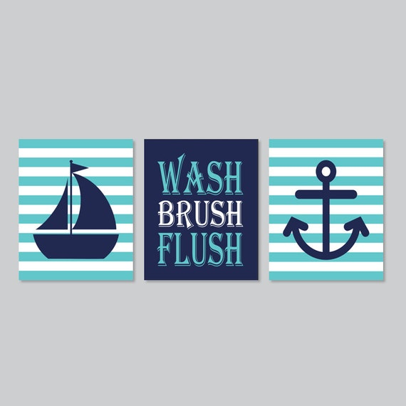 Kids Nautical Bathroom Decor Wash Brush Flush Wall Art Breeze | Etsy