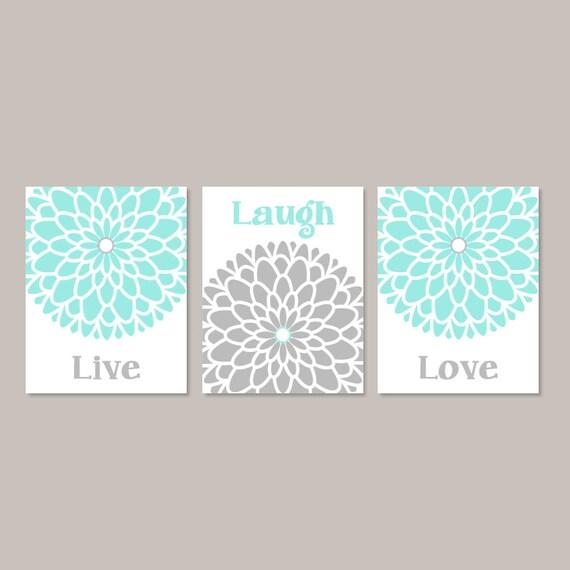 marvelous Live Laugh Love Wall Art Part - 6: Live Laugh Love Wall Art, Prints Or Canvas, Aqua Gray, Bedroom Wall Decor,  Bedroom Pictures, Dahlia Flower Wall Art, Set of 3