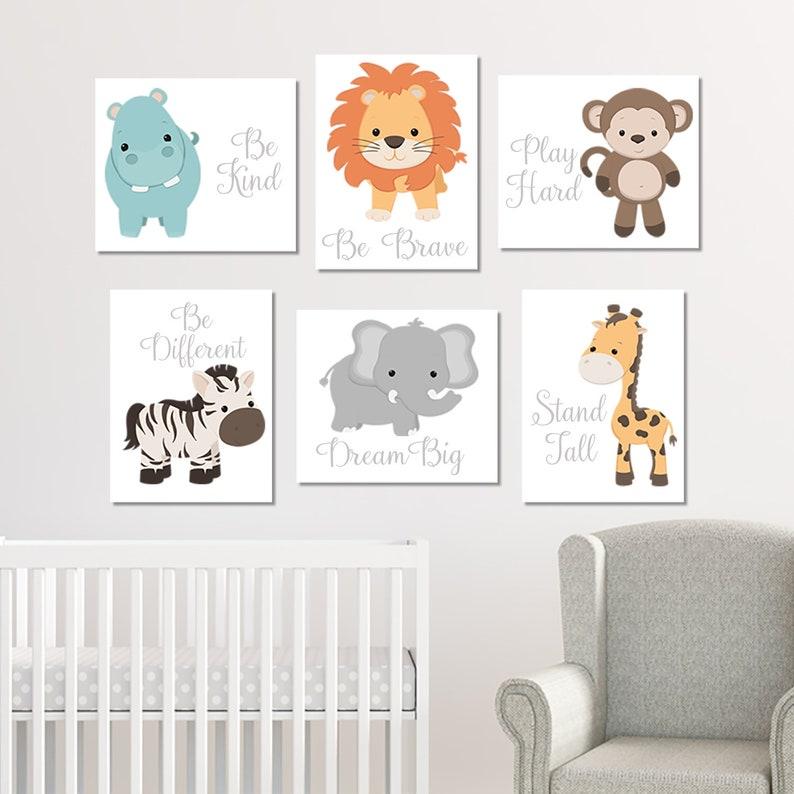 Safari Animals Zoo Animal Prints Or Canvas Baby Boy Nursery Decor Zoo Animal Nursery Wall Art Nursery Quotes Jungle Animals Set of 6