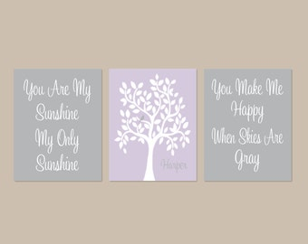 Lavender Nursery Decor, You Are My Sunshine, Nursery Wall Art, Nursery Tree,  Baby Girl Nursery Decor, Baby Gift Set of 3 Prints Or Canvas