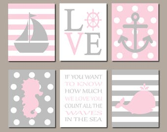 Pink Gray Nursery Art, Nautical Nursery Decor, Girl Nursery Prints Or Canvas Set of 6, Sailboat, Anchor, Whale, If You Want To Know How Much