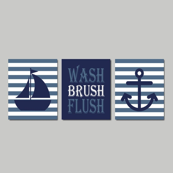 Genial Kids Nautical Bathroom Decor Prints Or Canvas Wash Brush Flush | Etsy
