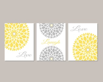Yellow Gray WALL ART, Live Laugh Love, Bedroom Pictures, Flower Wall Art, Home Decor, Flower Art, Dahlia Flower Set of 3 Prints Or Canvas