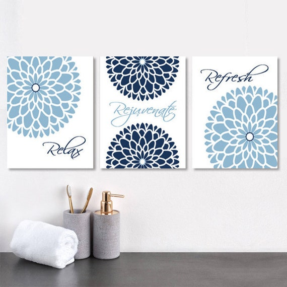 Navy Blue Bathroom Wall Decor Prints Or Canvas Wall Art Relax Etsy