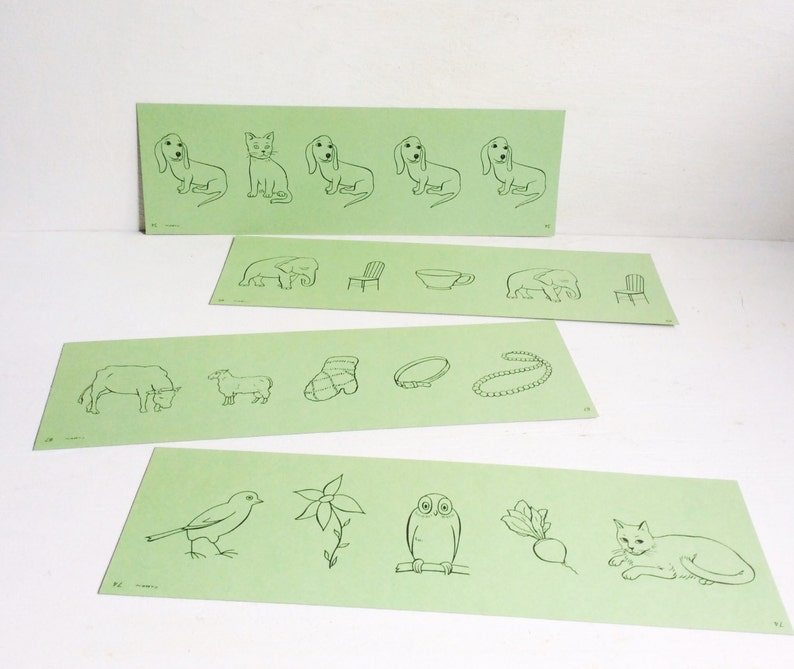 ba7bf717cb7d7 Set of 4 Large Green FLASH CARDS w/ Birds Dogs Cat Chairs & | Etsy