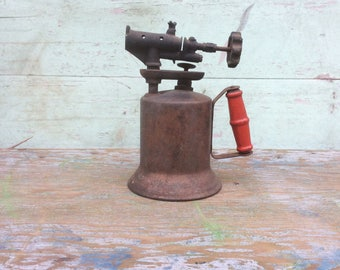 "Industrial Steampunk ""The Turner Brass Works"" Copper Finish Metal Blow Torch w/ Red Wood Handle"