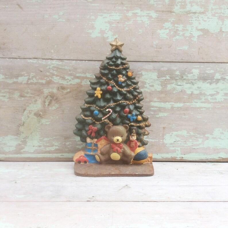 Antique Cast Iron Metal Green Christmas Tree Door Stop W Etsy
