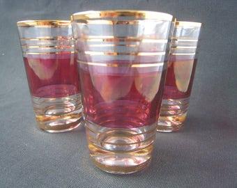 Vintage Sherry Glasses, Liqueur Glasses, Shot Glasses. Cranberry gold striped design. Vintage barware, vintage glassware, 1950s kitchenalia
