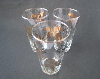 Vintage Sherry Glasses Liqueur Glasses shot glasses. Black and gold botanical Design. Vintage barware, vintage glassware, 1950s kitchenalia