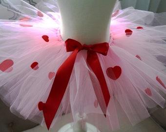 White tutu with pink hearts valentine tutu heart tutu baby tutu toddler tutu infant tutu girls tutu dog tutu smash cake photo prop