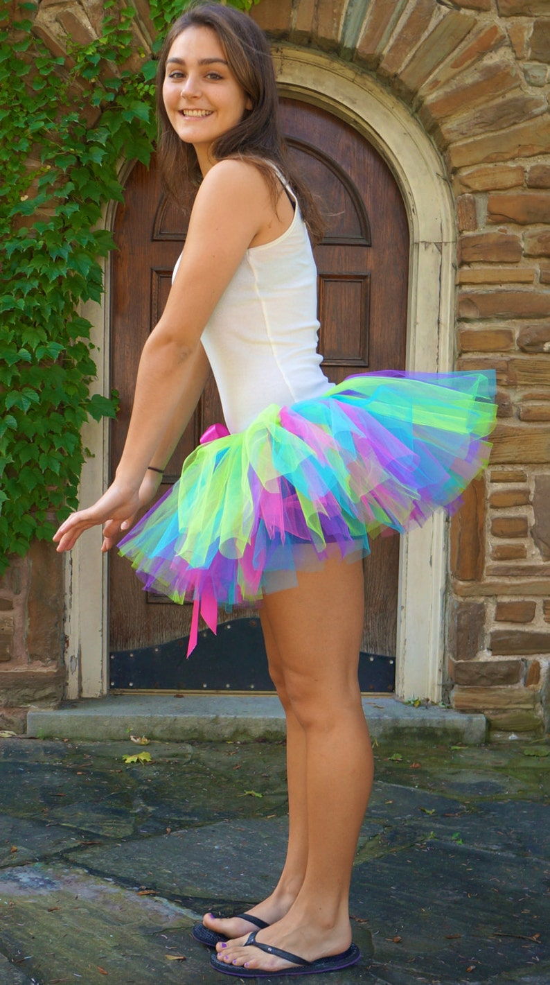 8d5f7ff25 Neon Multi Colored Tutu Adult Tutu Rave Tutu Race Tutu | Etsy
