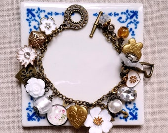 Locket charm bracelet White and gold charms Cha cha bracelet Flowers bracelet Charms bracelet