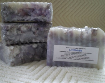 Lavender Organic 100% Coconut Oil Soap Bar - 5-6oz. Each
