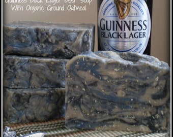 Triple Butter Guinness Black Lager Beer Soap With Organic Ground Oatmeal - 5-6oz Each